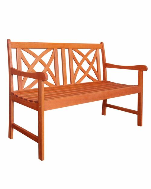 """48"""" Brown Natural Wood Finish Floral Back Outdoor Furniture Patio Bench - IMAGE 1"""
