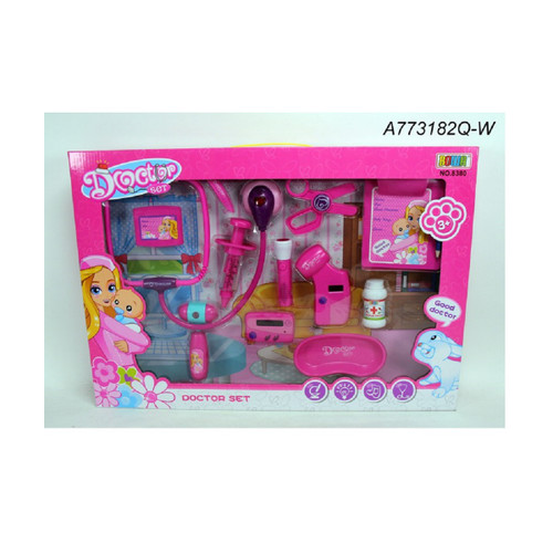 """12-Pieces Pink Doctor Playset Children's Toy 21.25"""" – Battery Operated - IMAGE 1"""