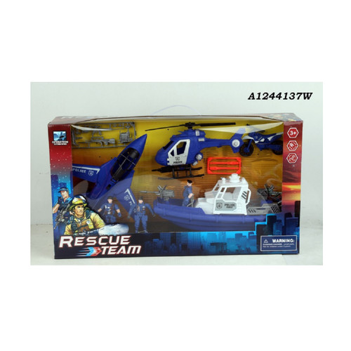 """23.5"""" Blue and White Police Rescue Team Playset Children's Toy - IMAGE 1"""