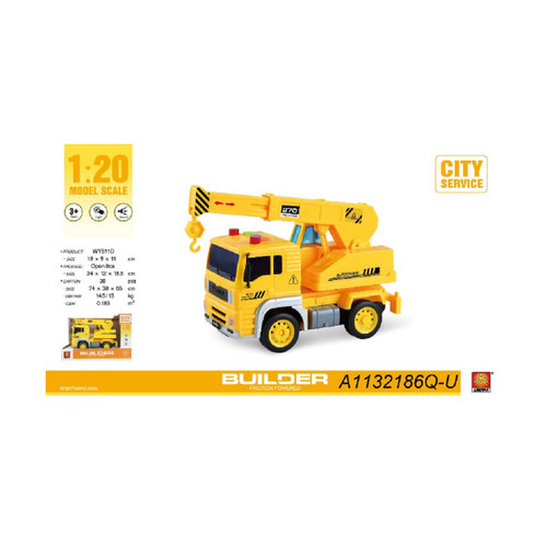 "9.25"" Builder 1:20 Scale Toy Crane Truck with Sound and Light - IMAGE 1"