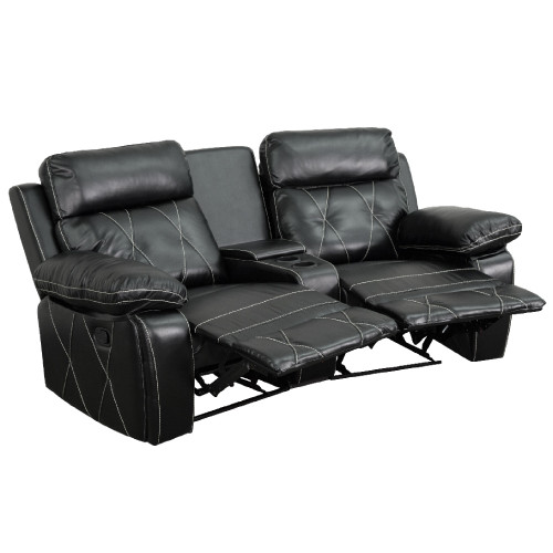 """2-Piece Black Contemporary Reclining Theater Seating Unit with Curved Cup Holders 79"""" - IMAGE 1"""