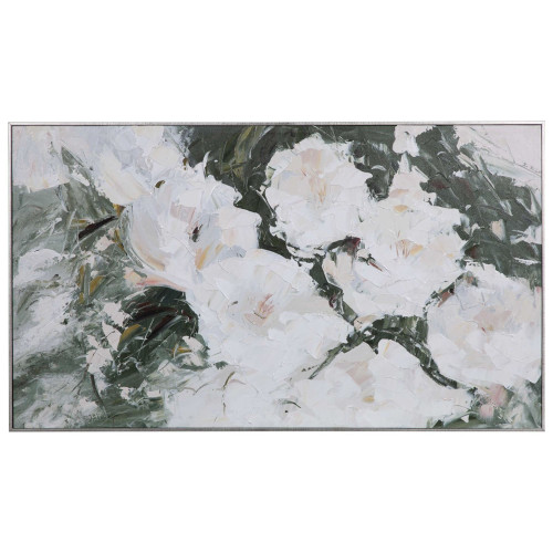 """Cream White and Green Floral Rectangular Hand Painted Wall Art 33"""" x 57"""" - IMAGE 1"""