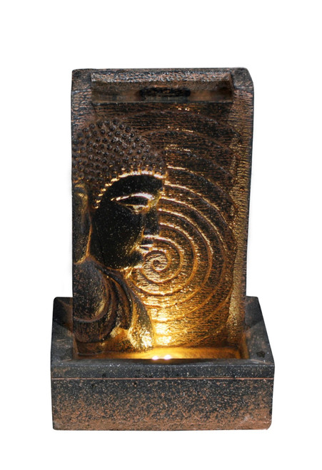 """14"""" Black and Brown Antique Buddha Water Fall LED Fountain - IMAGE 1"""