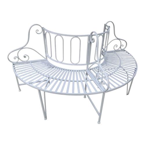"""68.75"""" White Contemporary Tree Outdoor Patio Garden Bench - IMAGE 1"""