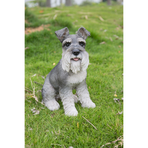 """13"""" Gray and White Schnauzer Statue with Tongue Out - IMAGE 1"""