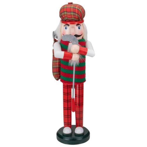"""14"""" Red and Green Plaid Wooden Golfer Christmas Nutcracker - IMAGE 1"""