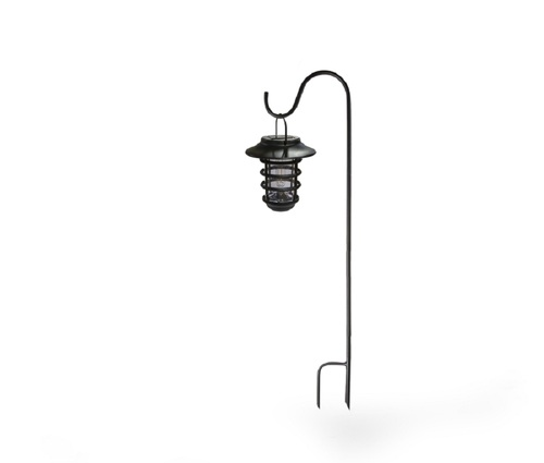"""Set of 2 Black and Clear Nottingham Solar Hanging Coach Lights 6.75"""" - IMAGE 1"""