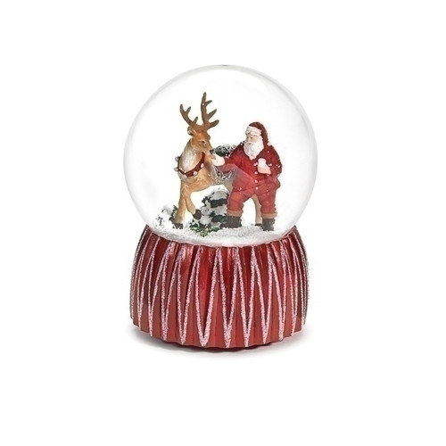 "6.5"" Musical Dome Santa with Deer Milk - IMAGE 1"