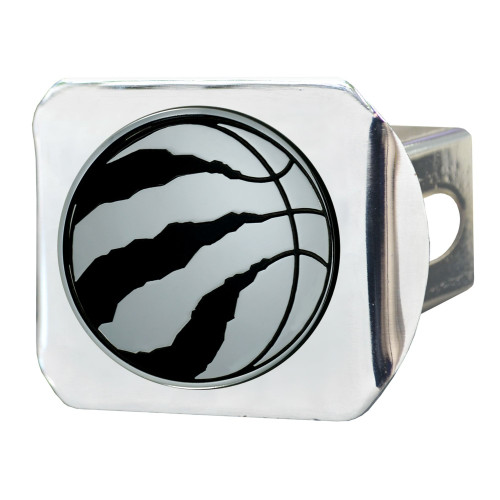 "4"" Stainless Steel and Black NBA Toronto Raptors Hitch Cover - IMAGE 1"
