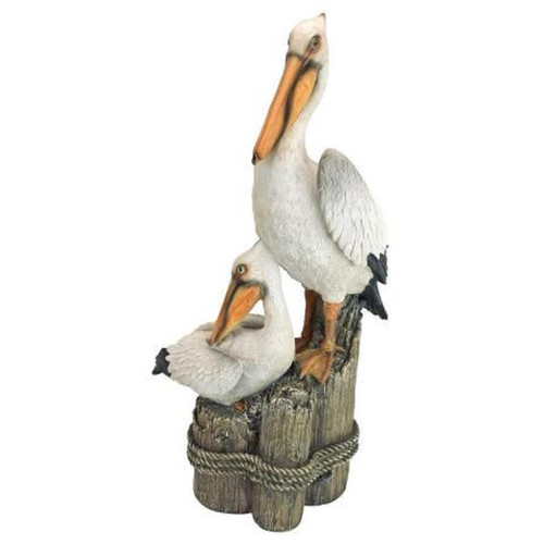 """24""""  Perch Pelican Hand Painted Outdoor Garden Statue - IMAGE 1"""