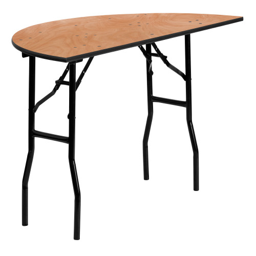 """48"""" Brown and Black Contemporary Half Round Folding Banquet Table - IMAGE 1"""