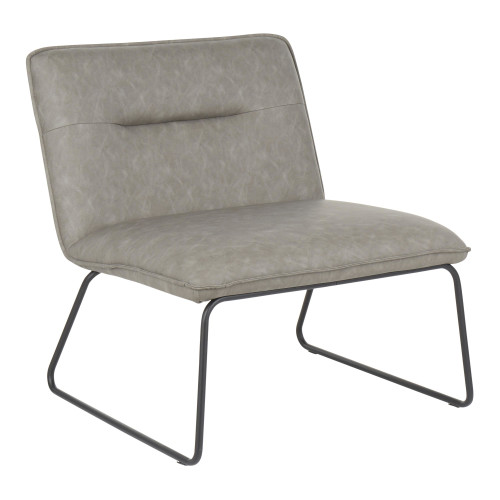 """30"""" Gray Faux Leather with Black Metal Casper Industrial Comfortable Accent Chair - IMAGE 1"""