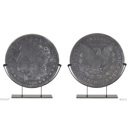 """19"""" Gray Metal and Resin Coin in Stand Table Top Decoration - IMAGE 1"""