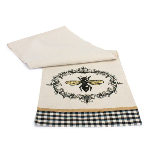 "Set of 3 White and Black Polyester Bee Table Runner 72"" - IMAGE 1"