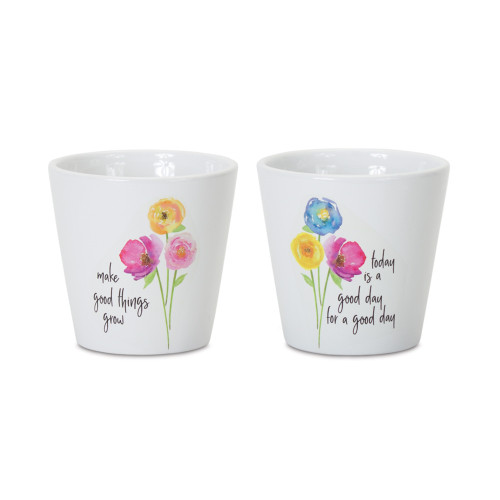 """Pack of 6 White and Pink Small Floral Planter, 4.75"""" - IMAGE 1"""