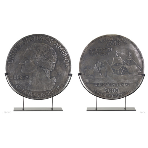 """23"""" Gray Metal and Resin Coin in Stand Table Top Decoration - IMAGE 1"""