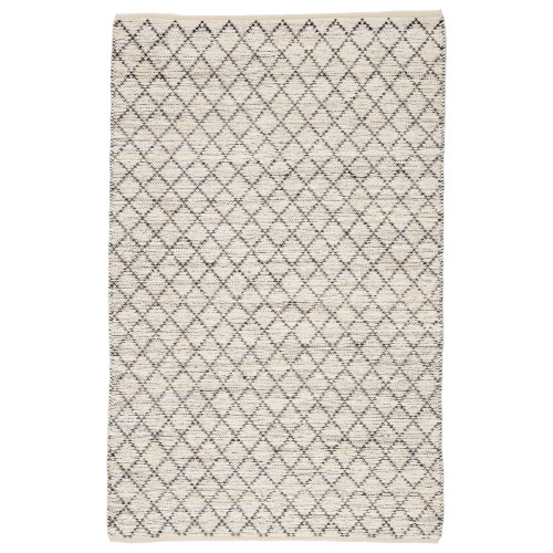 8' x 10' Ivory and Blue Geometric Rectangular Area Throw Rug - IMAGE 1