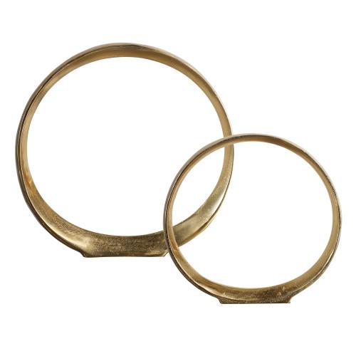 "14"" Gold Jimena Ring Sculptures Set of 2 - IMAGE 1"