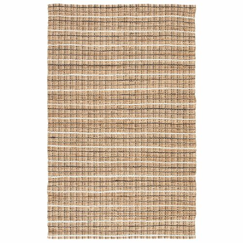 9' x 12' Gray and Beige Striped Hand Woven Rectangular Area Throw Rug - IMAGE 1