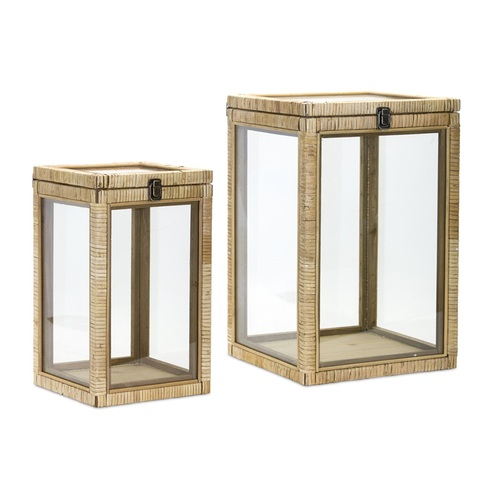 """Set of 2 Clear Glass Storage Box with Brown Wood Frame 17.75"""" - IMAGE 1"""