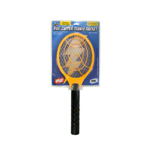 Pack of 4 Black and Yellow Battery Operated Bug Zapper Tennis Racket - IMAGE 1