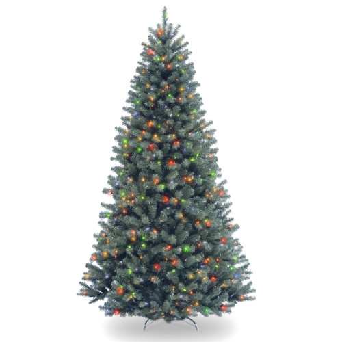 7.5' Pre-Lit North Valley Blue Spruce Artificial Christmas Tree - Multi-Color Lights - IMAGE 1