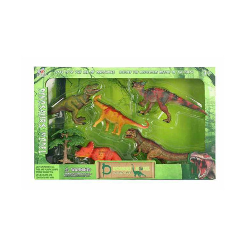 "5-Pieces Dinosaurs Plastic Model Children's Toy Figures 15.25"" - IMAGE 1"