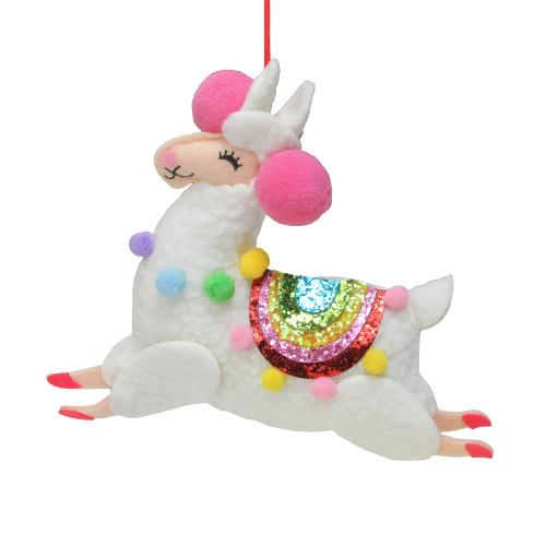 """7.5"""" White Plush Llama with Rainbow Saddle Christmas Ornament - IMAGE 1"""