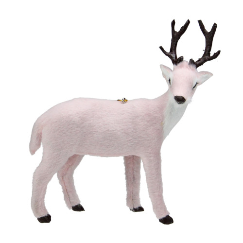 """6"""" Blush Pink and Brown Right Facing Reindeer Christmas Ornament - IMAGE 1"""