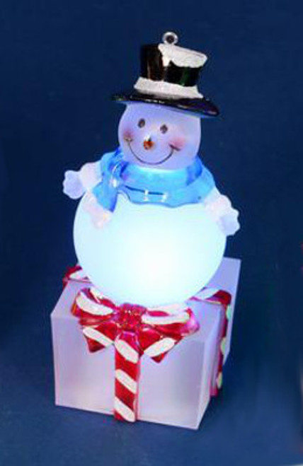 """4"""" LED Lighted Color-Changing Snowman on Present Table Top Christmas Decoration - IMAGE 1"""