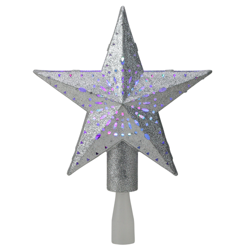 """9"""" LED Lighted Sliver Glitter Star Christmas Tree Topper - Multi Lights - IMAGE 1"""