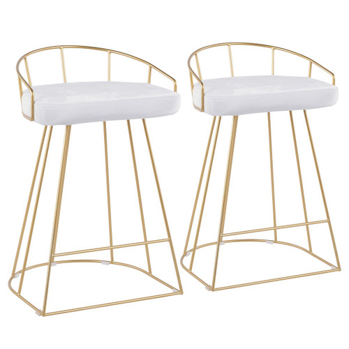 "Set of 2 Gold Accent White Upholstered Metal Indoor Bar Stools 31.25"" - IMAGE 1"