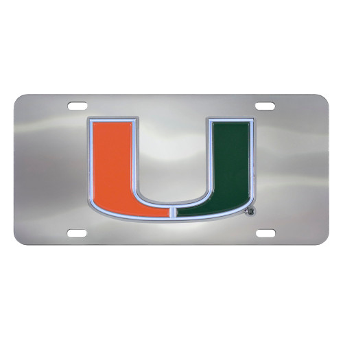 """12"""" Stainless Steel and Orange NCAA Miami Hurricanes Rectangular License Plate - IMAGE 1"""