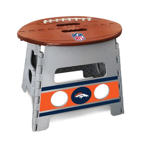 "14"" Gray and Brown NFL Denver Broncos Folding Step Stool - IMAGE 1"
