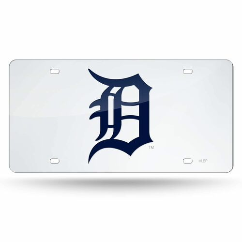 """6"""" x 12"""" Silver Colored and Blue MLB Detroit Tigers Tag - IMAGE 1"""