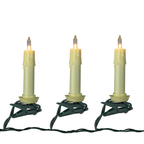 Set of 10 Clip-on White Tapper Candle Light String Set - Green Wire - IMAGE 1