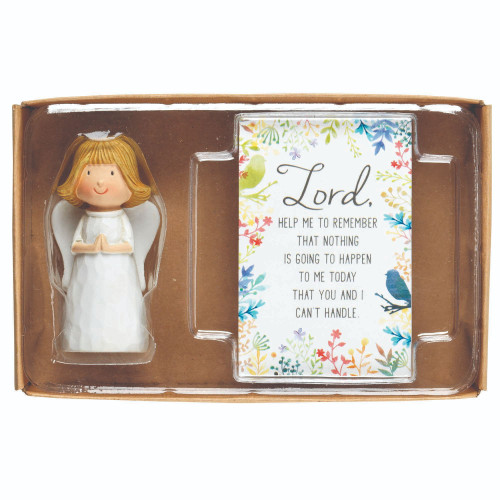 """3"""" White and Beige Religious Themed Angel Figurine with Blessing Card Gift Set - IMAGE 1"""