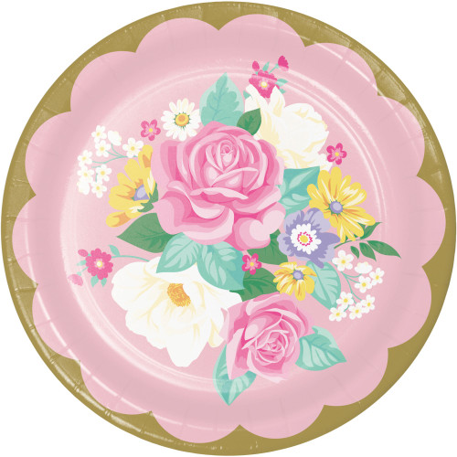 """Club Pack of 96 Rose and Yellow Floral Tea Party Round Plates 8.8"""" - IMAGE 1"""