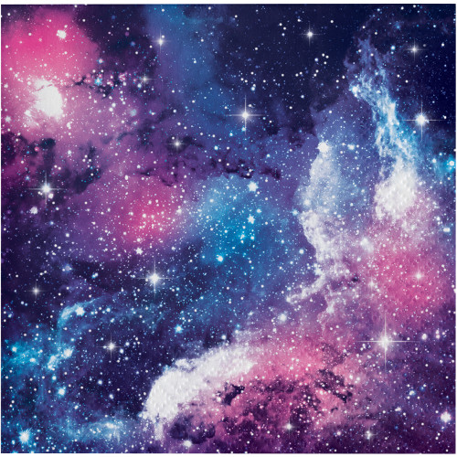 """Club Pack of 192 Blue and Pink Galaxy Themed 2-Ply Beverage Napkins 5"""" - IMAGE 1"""