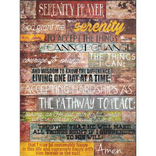 """16"""" Brown and Black """"SERENITY PRAYER"""" Bible Quote Rectangular Wall Plaque - IMAGE 1"""
