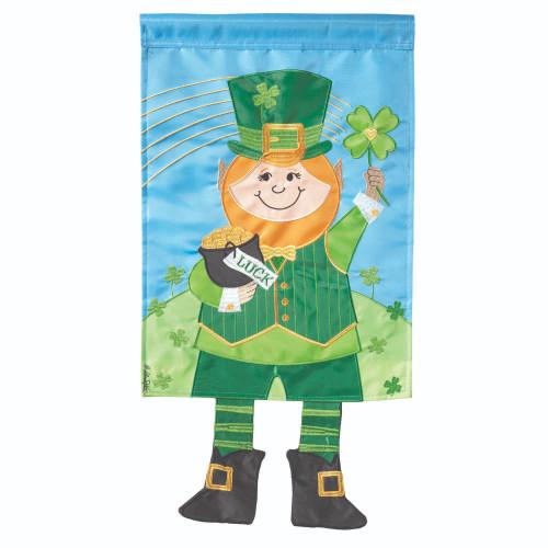 "Sky Blue and Green Leprechaun Printed Rectangular Garden Flag 18"" x 13"" - IMAGE 1"