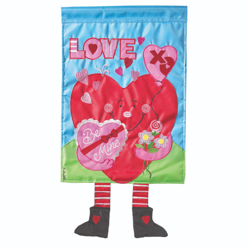 """Red and Pink """"LOVE Be Mine"""" Printed Rectangular Garden Flag 18"""" x 13"""" - IMAGE 1"""