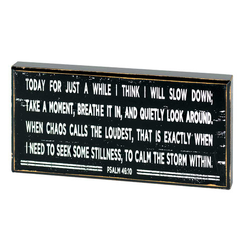 """8"""" Black and White Inspirational Psalm 46:10 Tabletop Plaque - IMAGE 1"""