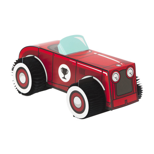"Pack of 6 Red and Black 3D Vintage Race Car Centerpieces 11"" - IMAGE 1"