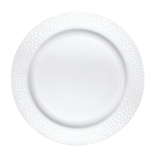 """Club Pack of 120 White Disposable Pearl Pebble Dinner Plates 10"""" - IMAGE 1"""