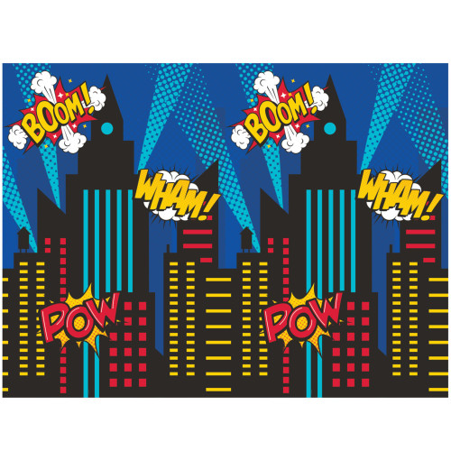 """Pack of 6 Blue and Red Superhero Party Photo Backdrops 72"""" - IMAGE 1"""