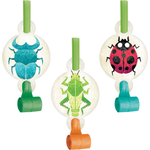"""Club Pack of 48 Blue and Green Birthday Bugs Blowout Party Noisemakers 5.25"""" - IMAGE 1"""