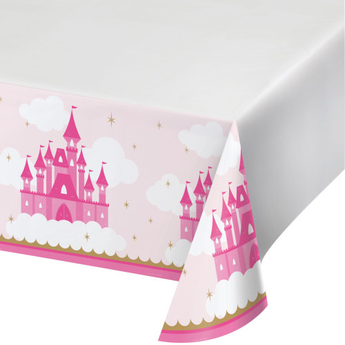 """Club Pack of 12 Pink and White Disposable Little Princess Party Table Cloth 88"""" - IMAGE 1"""