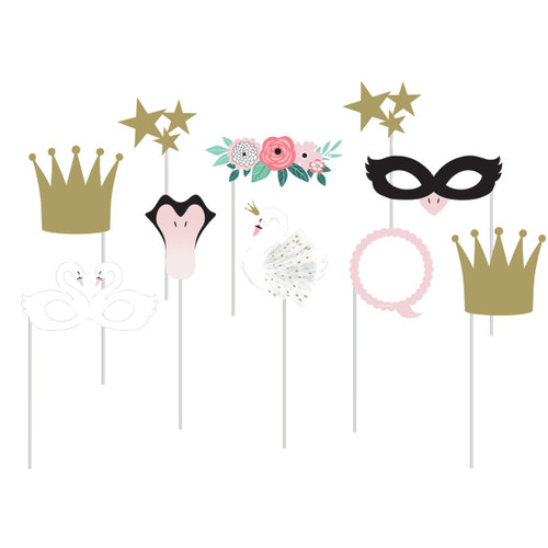 """Club Pack of 60 Gold and Pink Swan Party Photo Booth Props 10"""" - IMAGE 1"""