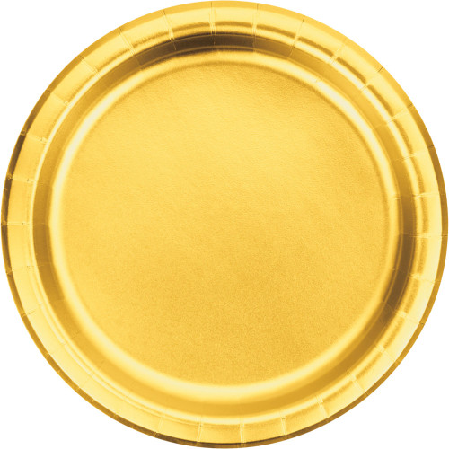 "Club Pack of 96 Gold Disposable Luncheon Plates 7"" - IMAGE 1"
